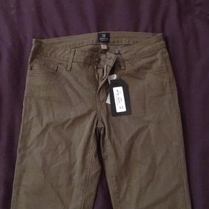 Olive colored skinny pants